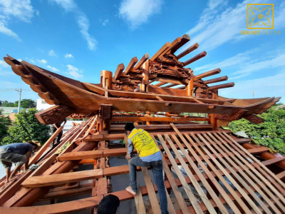 Công trình nhà gỗ gõ Pachy 5 gian 8 mái - Củ Chi - TP.HCM